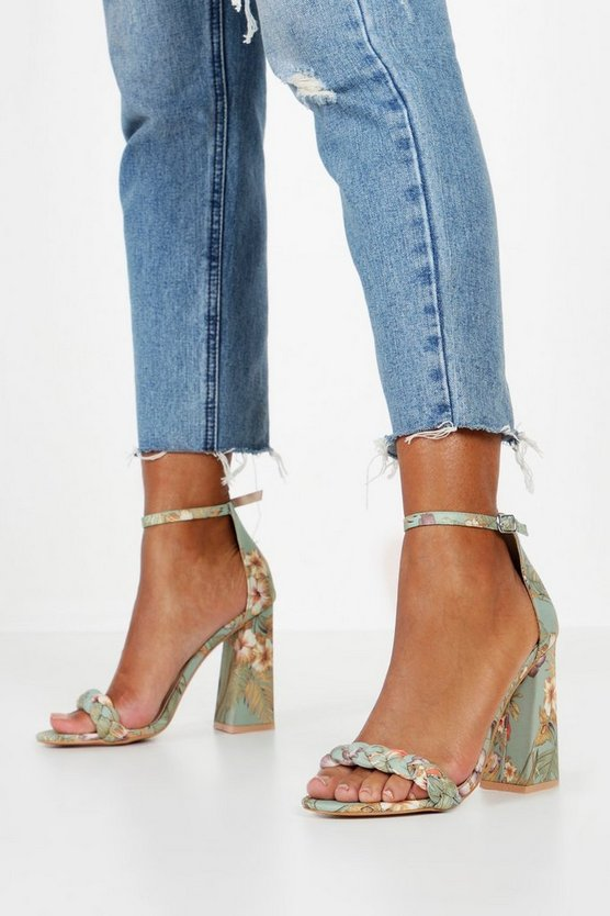 Oriental Print Block Heel 2 Parts by Boohoo