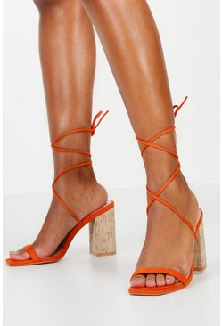 Womens Orange Cork Heel Wrap Sandals