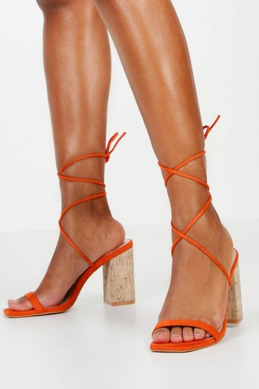 Orange Cork Heel Wrap Sandals