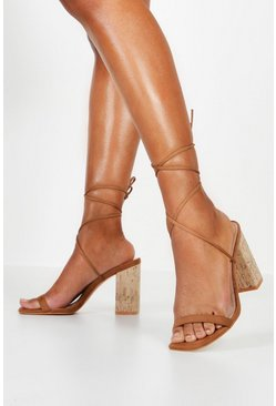Womens Taupe Cork Heel Wrap Strap Sandals