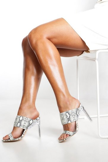 Grey Reflective Snake Clear Heel Mules