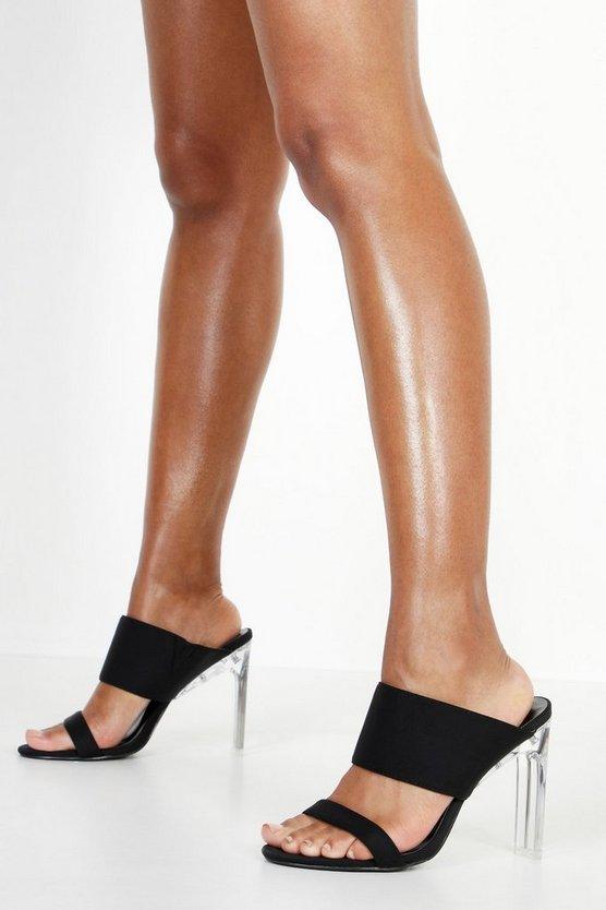 Double Strap Clear Heel Mules | boohoo Australia