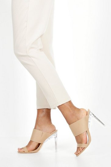 Womens Beige Double Clear Heel Mules