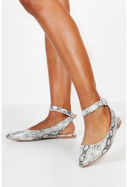 Womens Grey Snake Wrap Belt Pointed Flats