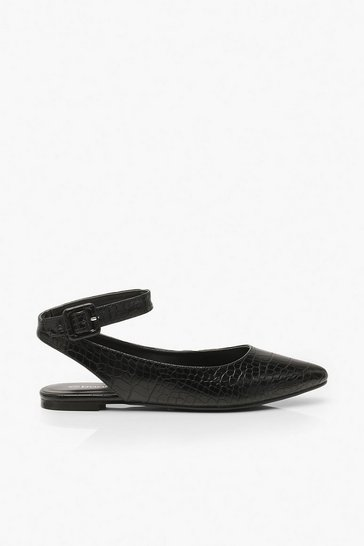 Womens Black Wrap Belt Strap Pointed Flats