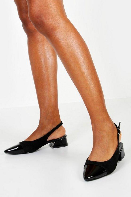 Contrast Toe Cap Block Heel Ballets