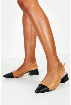 Womens Nude Contrast Toe Block Heel Ballets