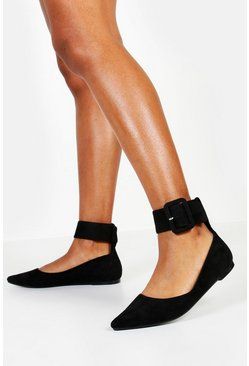 Black Chunky Buckle Pointed Ballets