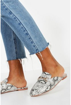 Grey Snake Mule Loafers