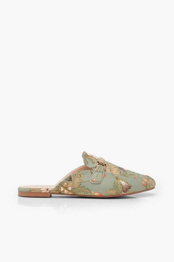 Oriental Print Mule Loafers