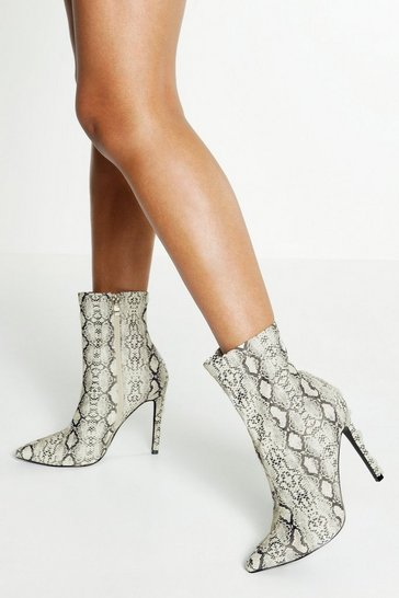 Womens Grey Reflective Snake Sock Boots