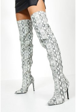 Womens Grey Reflective Snake Thigh High Boots