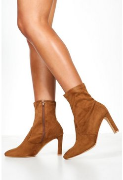 Womens Tan Wide Fit Flat Heel Sock Boots