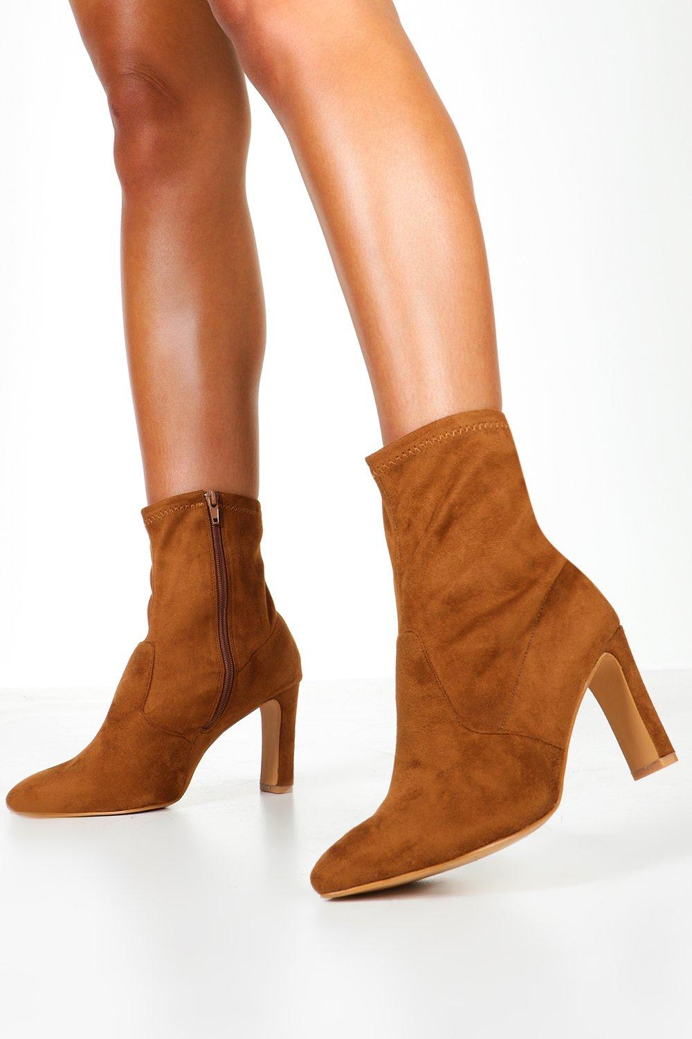 Retro Vintage Style Wide Shoes Extra Wide Fit Flat Heel Sock Boots $41.00 AT vintagedancer.com
