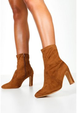 Dam Tan Extra Wide Fit Flat Heel Sock Boots