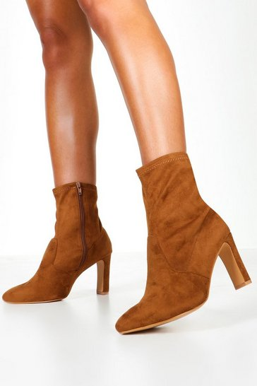 Womens Tan Extra Wide Fit Flat Heel Sock Boots
