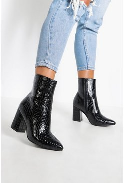 Black Wide Fit Croc Block Heel Sock Boots