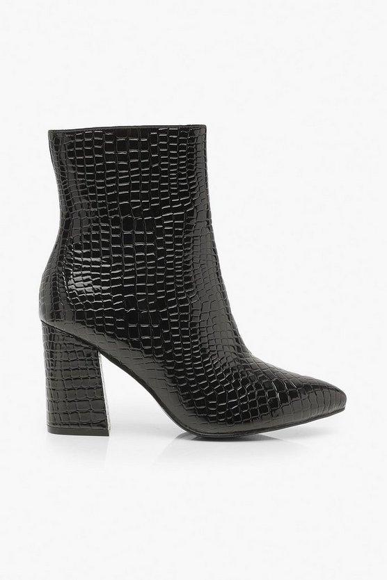 Wide Fit Croc Block Heel Sock Boots