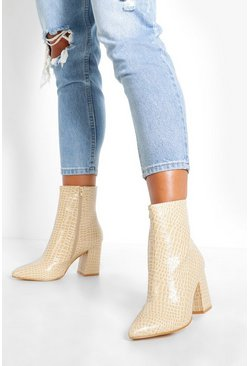 Ecru Wide Fit Croc Block Heel Boots