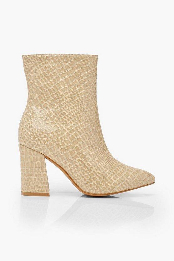 Wide Fit Croc Block Heel Boots