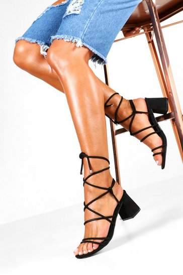 Black Wide Fit Wrap Strap Block Heels