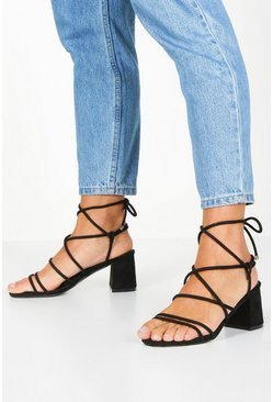 Black Extra Wide Fit Wrap Block Heels