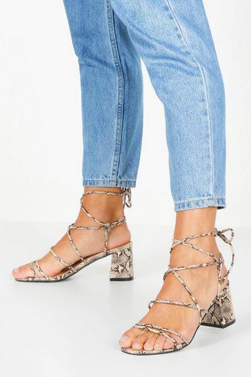 Beige Extra Wide Fit Snake Block Heels