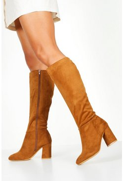 Tan Wide Fit Knee High Boots