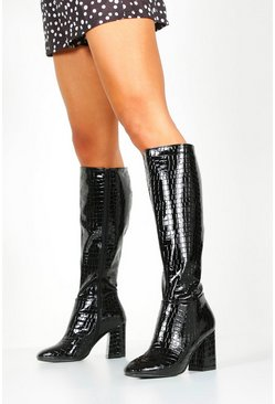 Black Wide Fit Knee High Boots