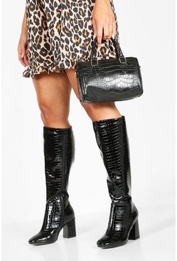 Black Extra Wide Fit Knee High Boots