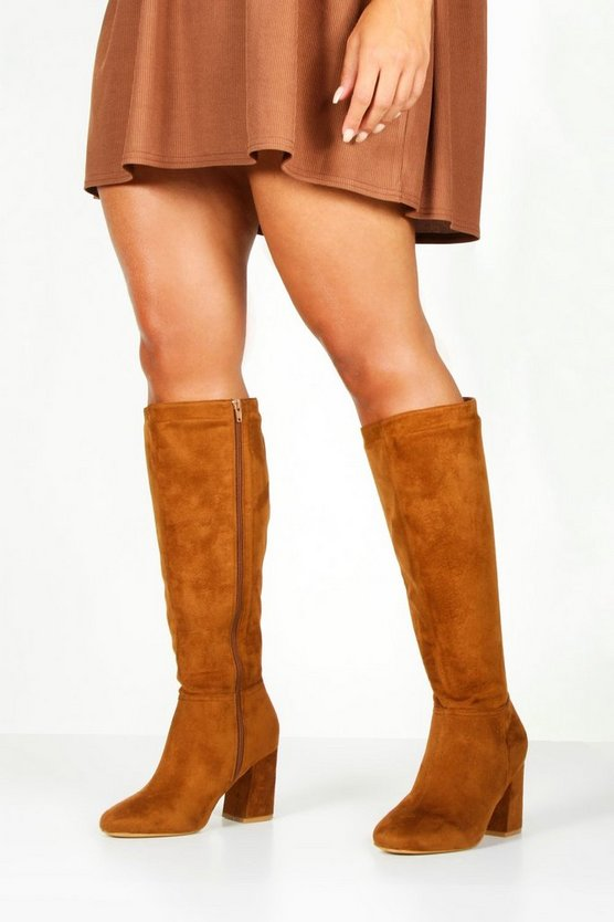 Tan Extra Wide Fit Knee High Boots