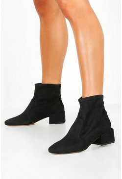Womens Black Wide Fit Block Heel Sock Boots