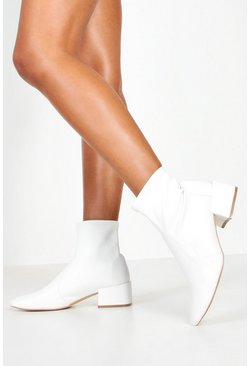 Dam White Wide Fit Block Heel Sock Boots