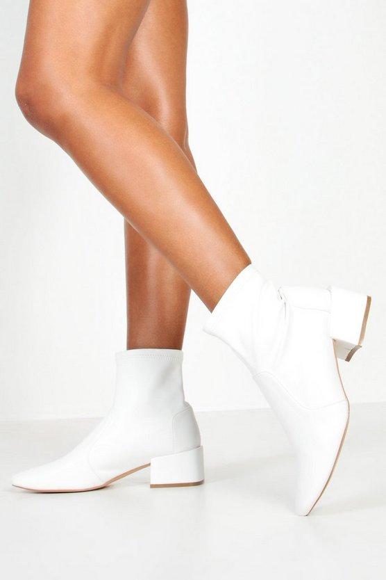 Wide Fit Block Heel Sock Boots