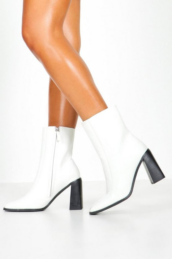 White Wide Fit Croc Square Toe Block Heel Sock Boots