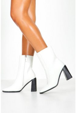 Womens White Wide Fit Croc Square Toe Block Heel Sock Boots