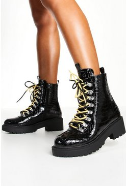 Black Wide Fit Croc Double Lace Chunky Hiker Boots