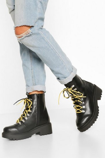 Black Wide Fit Double Lace Chunky Hiker Boots
