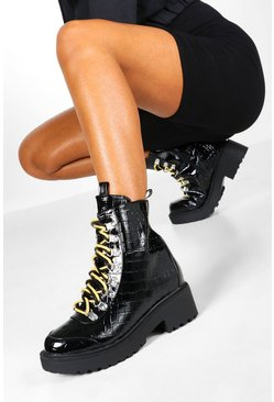 Black Croc Double Lace Chunky Hiker Boots