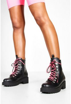 Womens Black Double Lace Chunky Hiker Boots
