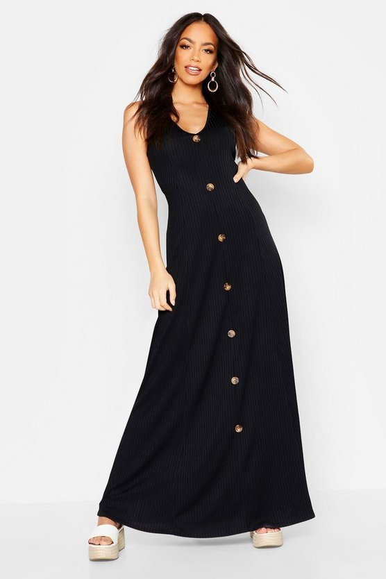 Womens Black Ribbed Button Front Maxi Dress