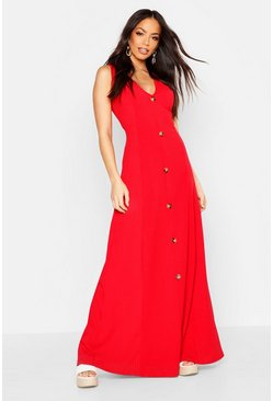 Red Ribbed Button Front Maxi Dress