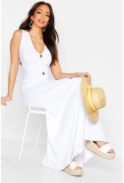 White Ribbed Button Front Maxi Dress