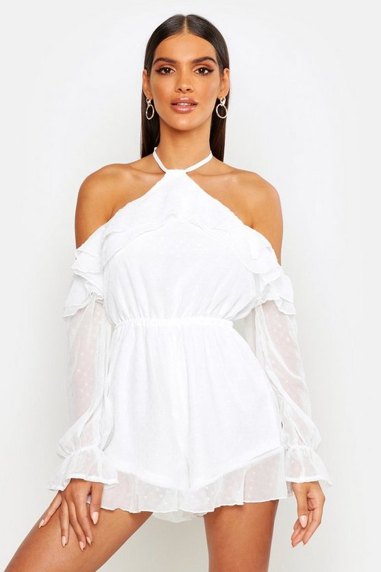 Womens White Dobby High Neck Woven Playsuit