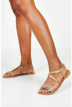 Womens Brown Wide Fit Snake Flat Sandals
