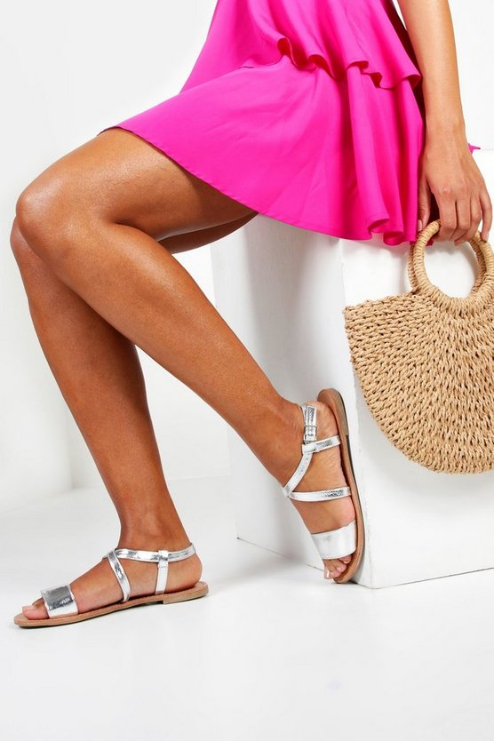 Wide Fit Flat Sandals by Boohoo