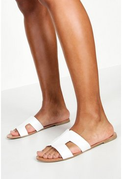Womens White Wide Fit Sliders