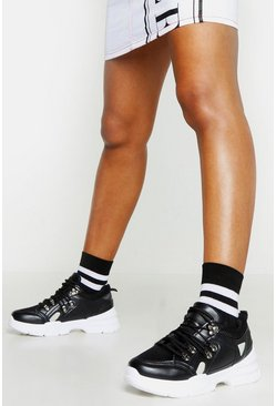 Black Chunky Sole Lace Up Hiker Trainers