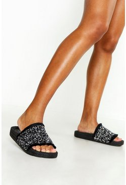 Womens Black Embellished Fringe Sliders