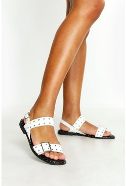 Womens White Studded Buckle Flat Sandals